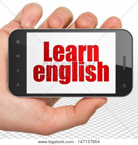Learning concept: Hand Holding Smartphone with red text Learn English on display, 3D rendering