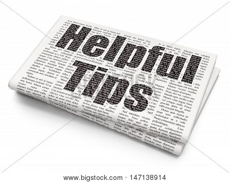 Education concept: Pixelated black text Helpful Tips on Newspaper background, 3D rendering
