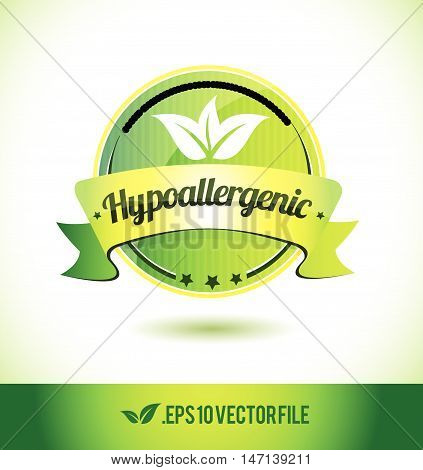 Hypoallergenic badge label seal text tag word stamp logo design green leaf template vector eps
