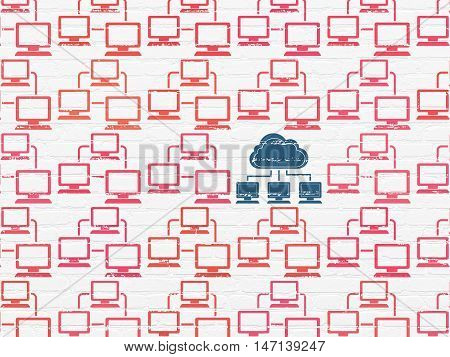 Cloud computing concept: rows of Painted red lan computer network icons around blue cloud network icon on White Brick wall background
