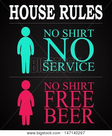 House rules - funny inscription template design