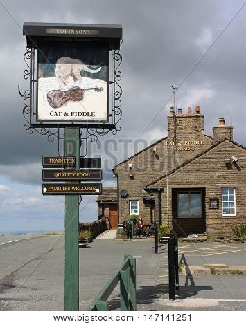 BUXTON, ENGLAND, AUGUST 27 2016: The famous 'Cat and Fiddle' pub near Buxton in Derbyshire. It is the second highest public house in England and situated in the Peak District National Park.