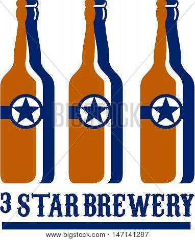 Illustration of three beer long neck bottles with star and the words text Star Brewery set on isolated white background done in retro style.