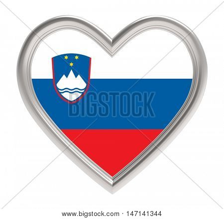 Slovenian flag in silver heart isolated on white background. 3D illustration.