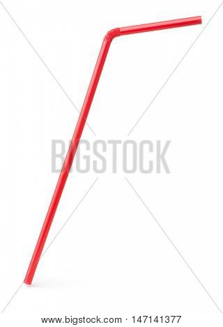 Single red drinking cocktail straw isolated on white