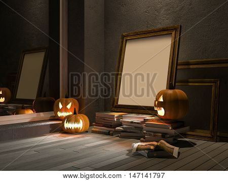 3D Pumpkin Heads And Photo Frame