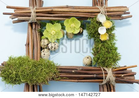 Easter frame with two raw quail eggs up and many down and two hellebore flowers