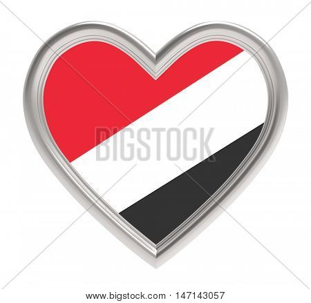 Sealand flag in silver heart isolated on white background. 3D illustration.
