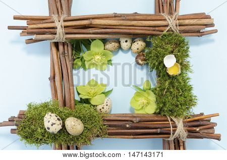 Easter frame with seven boiled and one raw eggs and three hellebore flowers. Copy space