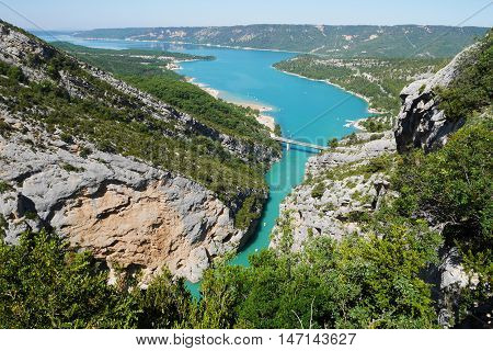 birdseye view over the lac de ste croix in france