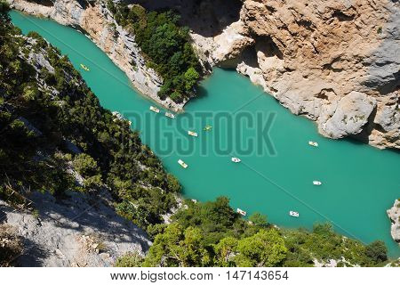 Peddle boats in the verdon river, france
