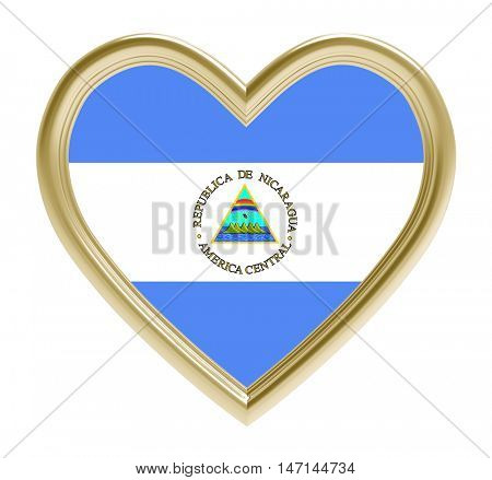 Nicaraguan flag in golden heart isolated on white background. 3D illustration.