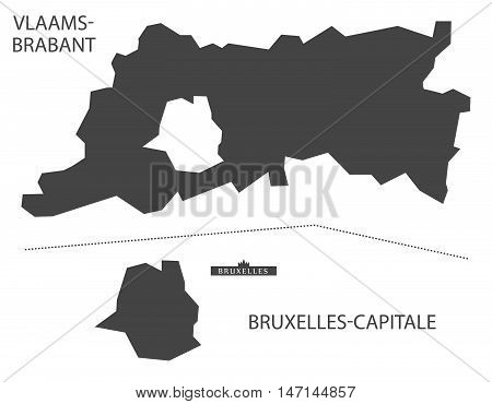 Vlaams-Brabant and Bruxelles Belgium Map in grey vector high res
