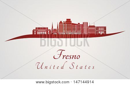 Fresno skyline in red and gray background in editable vector file