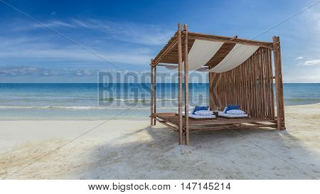 Bamboo Tent On The Beach