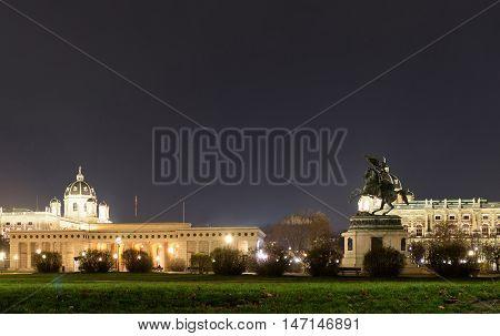 Statue of archduke karl ludwig john on heldenplatz at night, vienna, austria