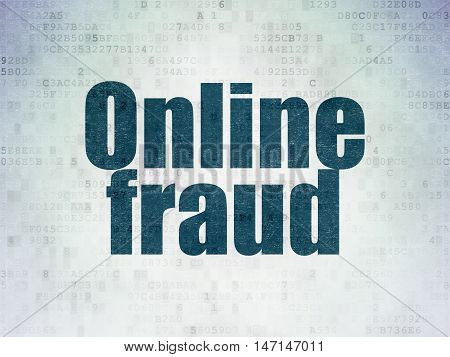 Safety concept: Painted blue word Online Fraud on Digital Data Paper background