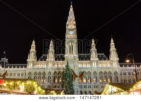 Traditional Christmas market at Rathaus in Vienna at night, Austria