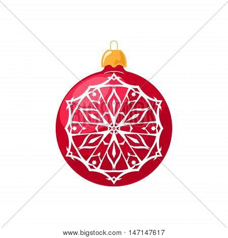 Red Ball with Snowflake Isolated on White Background , Christmas Tree Decoration, Merry Christmas and Happy New Year, Vector Illustration