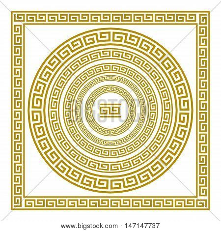 Vector Set Frieze With Vintage Golden Greek Ornament Meander Pattern Greece Art