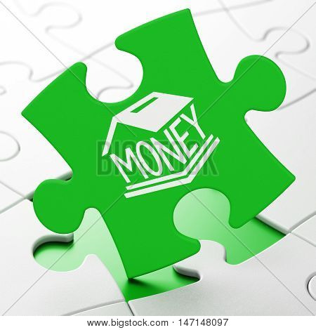 Banking concept: Money Box on Green puzzle pieces background, 3D rendering