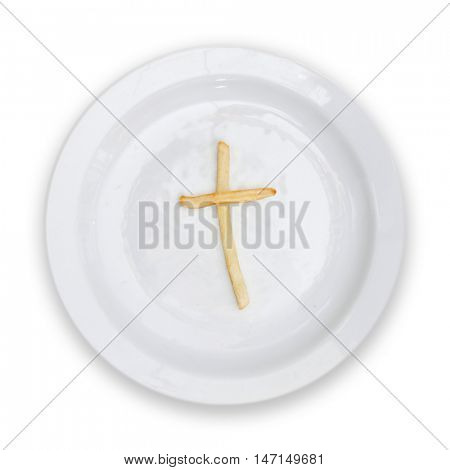 French fries displaying fatal obesity isolated on white