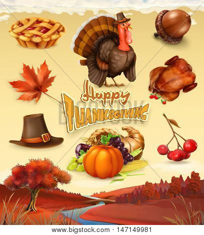 Autumn. Happy Thanksgiving cartoon character and objects. 3d vector icon set