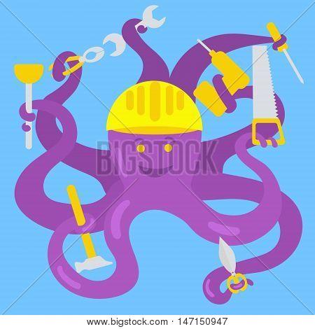 Cartoon octopus handyman. Funny conceptual colorful vector illustration