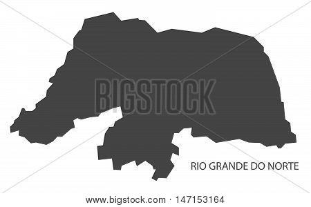 Rio Grande do Norte map grey brazil vector high res