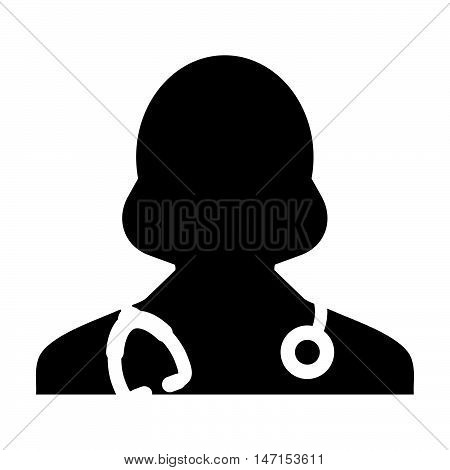 Woman Doctor Icon - Physician, Medical, Health Care, MD Glyph Vector illustration