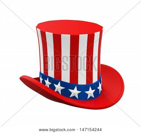 Uncle Sam Hat isolated on white background. 3D render