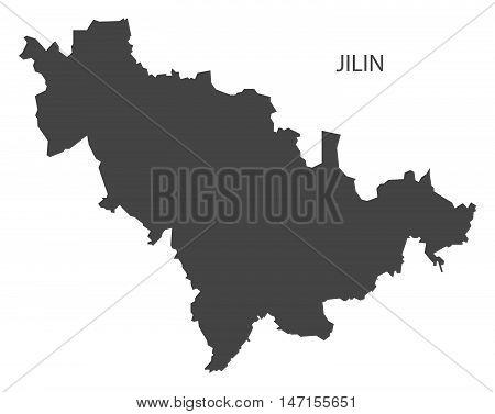 Jilin China Map in grey vector high res