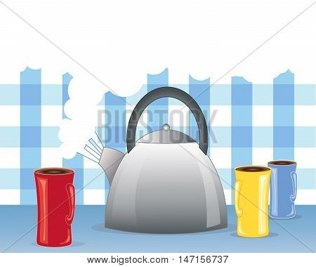 an illustration of a metallic kettle boiling with three mugs in red blue and yellow and white steam on a gingham background