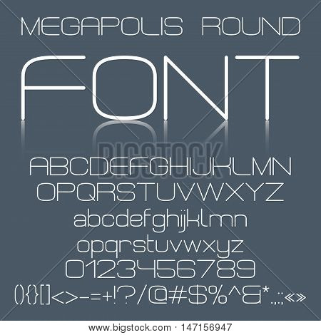 Trendy modern elegant font alphabet with upper case and lower case letters, numbers and symbols on dark gray background. Vector illustration