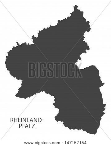Rheinland-Pfalz Germany Map grey vector high res