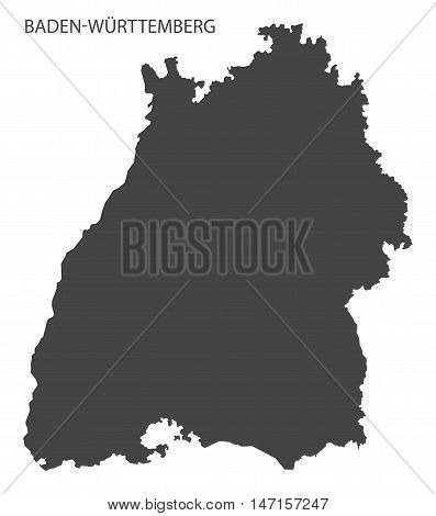 Baden-Wuerttemberg Germany Map in grey vector high res