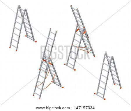 Isometric ladder. Set of various ladders on the white background.