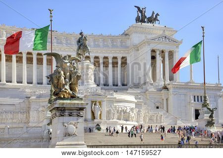ROME ITALY - May 03.2012: Vittorio Emanuele II. Monument in honor of the first king of united Italy Vittorio Emmanuel II. Located at the Venice Square in Rome