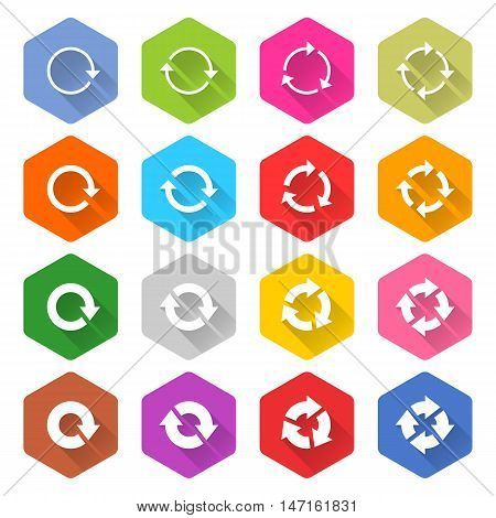 Flat arrow icon 16 set rounded hexagon web button on white background. Refresh reload synchronize loop reset rotation repeat sugn. Vector illustration internet design graphic element 10 eps