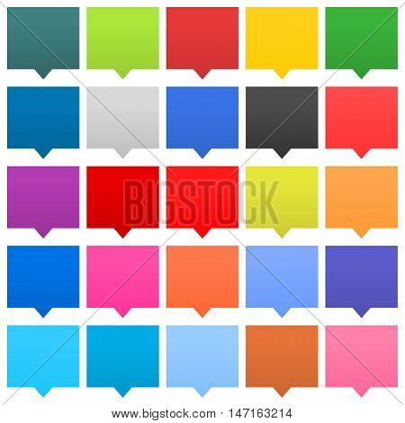 Flat 25 speech bubble sign web icon square shape on white background. Empty buttons in popular soft colors. Newest simple modern minimal metro style. Internet design element vector illustration 8 eps