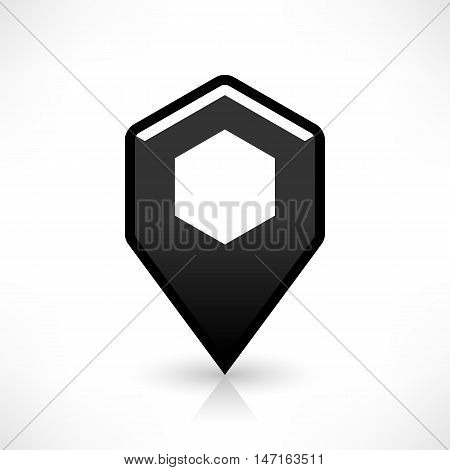 Blank map pin location sign rounded hexagon icon in flat style. Empty black shapes with gray oval shadow and reflection on white background. Web design element saved in vector illustration 8 eps