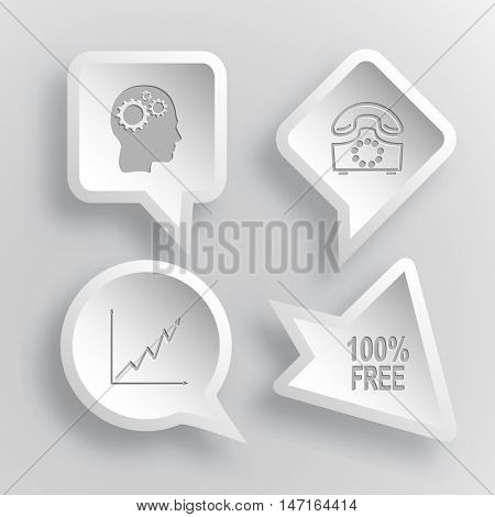 4 images: human brain, rotary phone, diagram, 100% free. Business set. Paper stickers. Vector illustration icons.