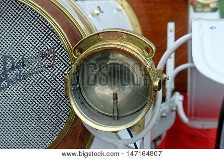 Kharkiv Ukraine - May 22 2016: Close up of retro car white Delaunay-Belleville 20CV manufactured between 1905 and 1908 is presented at the festival of vintage cars Kharkiv Retro Rally - 2016 in Kharkiv Ukraine on May 22 2016