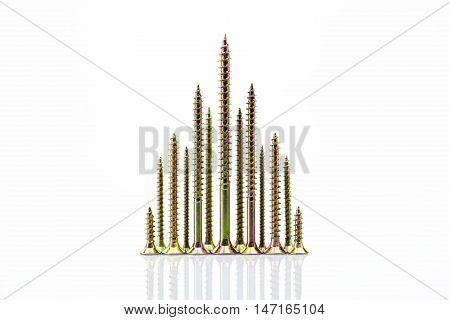 Screw-shaped metal tree on light white background