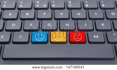 Close-up Keyboard With Three Smiley Keys