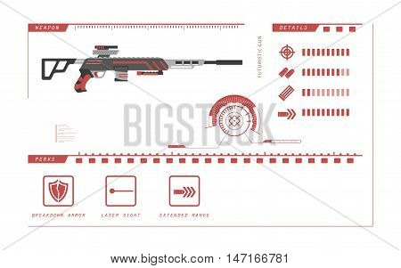 Details of gun: sniper rifle. Game perks. Virtual reality weapon. Vector illustration