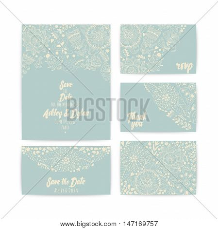 Wedding Invitation Template. Invitation, envelope, thank you card, save the date cards. Wedding set. RSVP card. Marriage event. Valentine Day cards