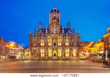 City Hall on the Markt square in the center of the old city at night, Delft, Holland, Netherlands
