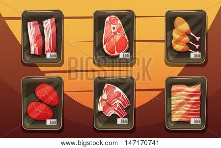 Top view of meat counter with trays of chicken legs chops loin brisket in cartoon style flat vector illustration