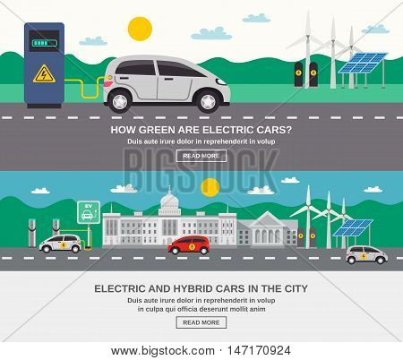 Electric and hybrid cars in city 2 flat banners webpage design on green energy information isolated vector illustration